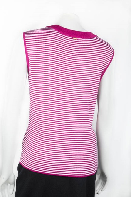 St. John Sleeveless Fuschia Knit Scoop Neck Top Pink/white Image 2