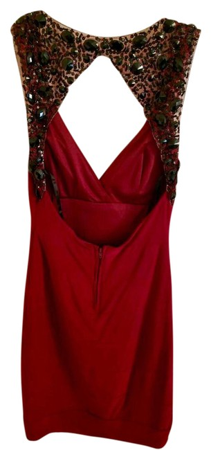 Item - Red Sexy Black Back Beaded Short Night Out Dress Size 6 (S)