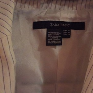 Zara Cream With Navy Thin Stripes Blazer