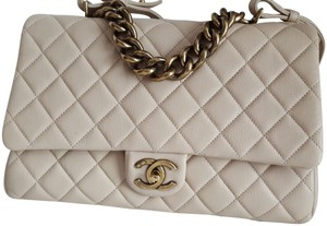 Chanel Trapezio Shoulder Satchel in Beige