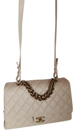 Chanel Trapezio Shoulder Satchel in Beige Image 1