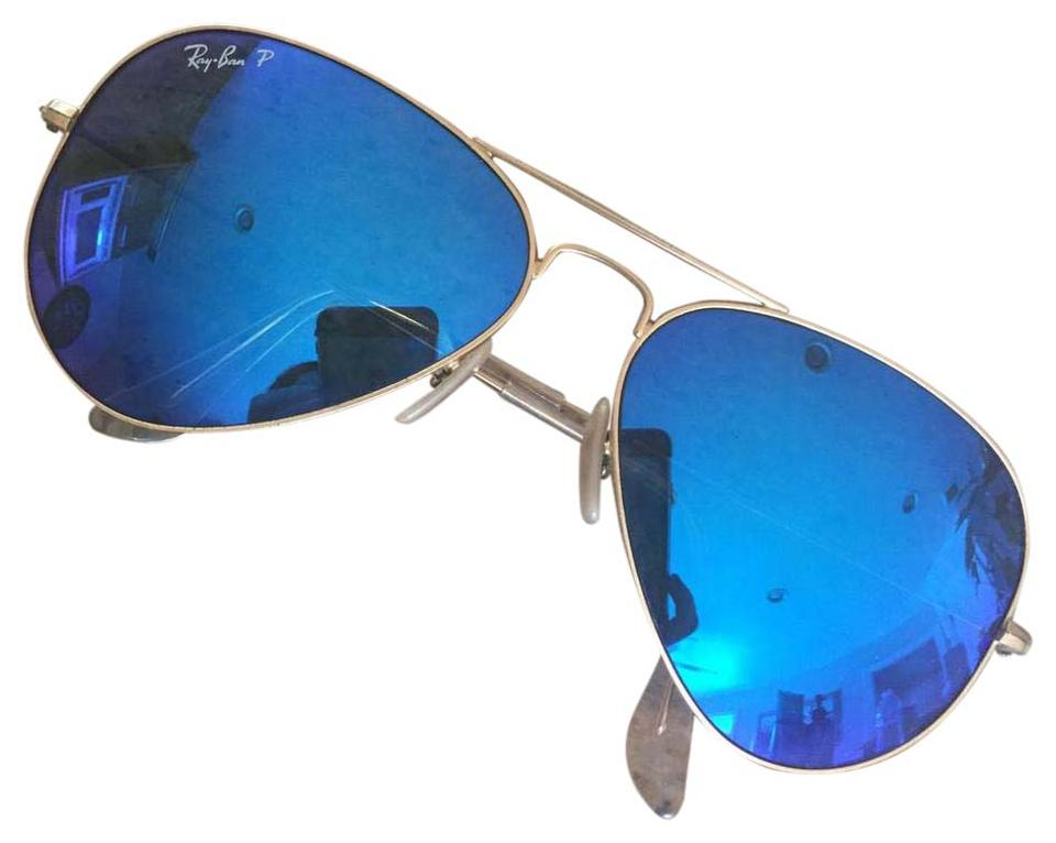 Ray-Ban Blue Lens and Gold Frame Aviator Polarized Sunglasses - Tradesy