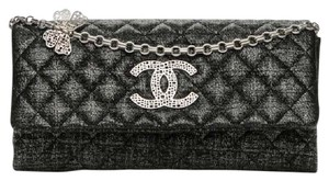 Chanel Metallic Quilted Glitter Silver Pewter Clutch