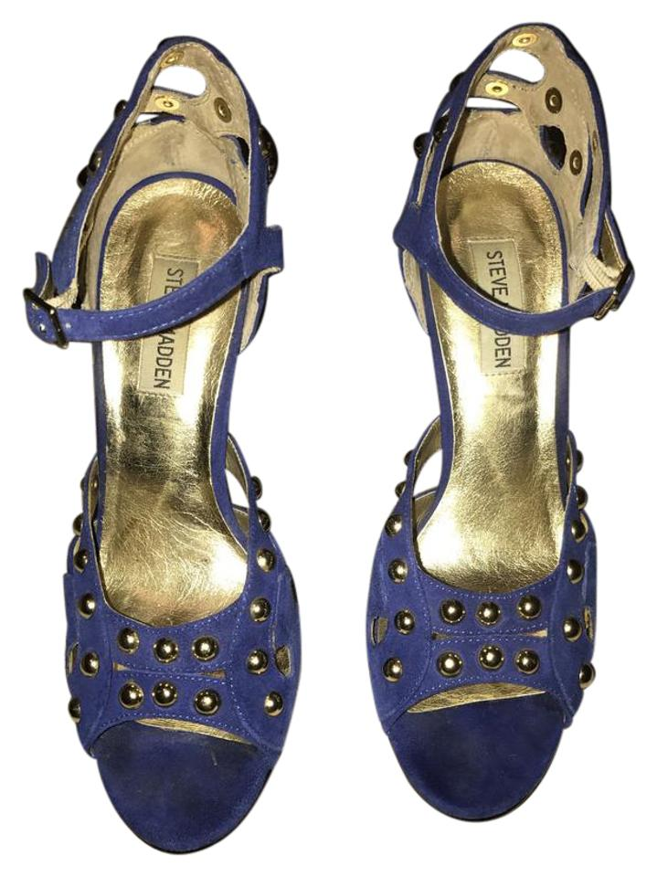 219dc348e07 Steve Madden Blue Gold Leather Platforms With Sandals Size US 9 ...