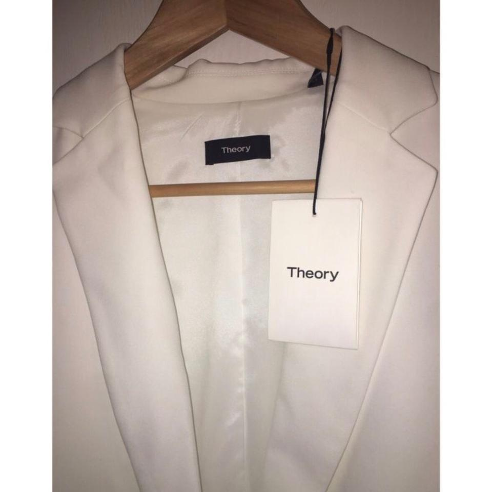 33aa044a9a33 Theory White Robiva Admiral Crepe Single Button Jacket Blazer Size 6 ...