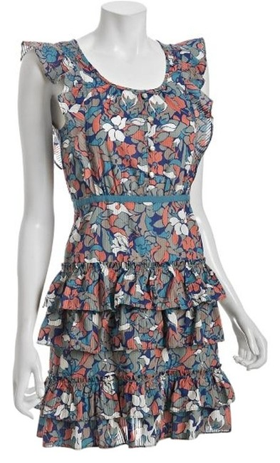 Marc by Marc Jacobs short dress Blue Floating Lotus Ruffle Cotton Tiered Floral on Tradesy