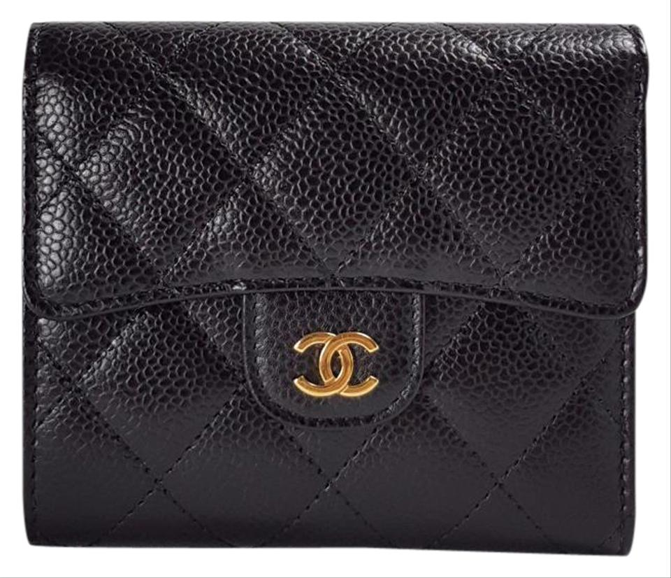 b4839f382584 Chanel Black Classic Caviar Leather Square Ghw Wallet - Tradesy