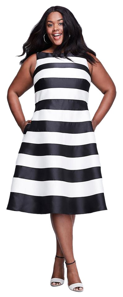 Adrianna Papell Black & White Striped T-length Plus Mid-length ...