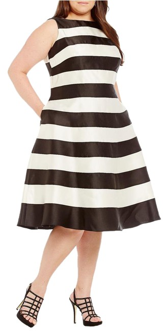 Adrianna Papell Black Amp White Striped T Length Mid Length