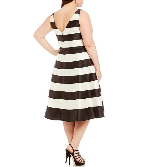 Adrianna Papell Black White Striped T Length Mid Length Formal