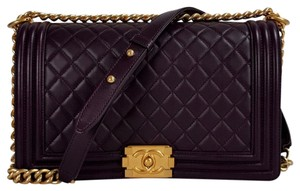 0b7d39d5eefe Chanel Boy Medium Quilted Gold Ghw Cruise Bnib Plum Leather Cross ...
