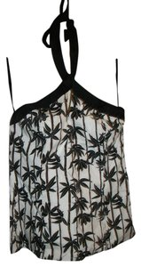 White House   Black Market Halter Cut-out Bamboo Top Black and White
