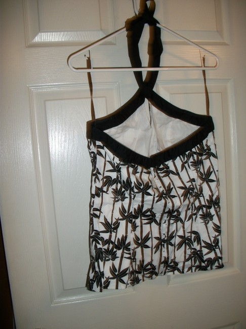 White House   Black Market Halter Cut-out Bamboo Top Black and White Image 2