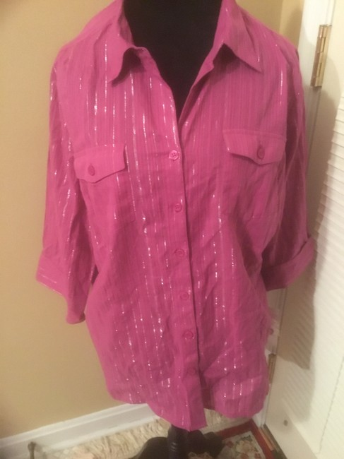 Style & Co Button Down Shirt Purple Image 1