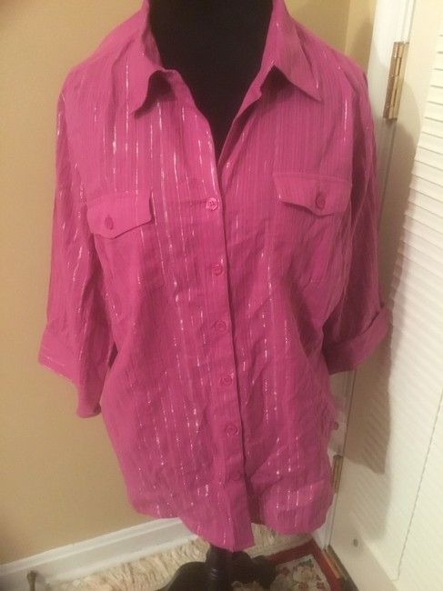Style & Co Button Down Shirt Purple Image 3