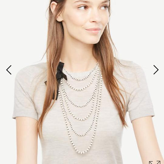 Ann Taylor knotted pearlized tie necklace Image 1