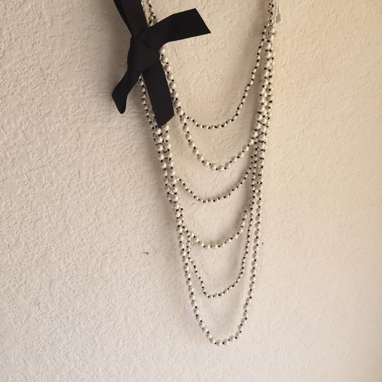Ann Taylor knotted pearlized tie necklace Image 3