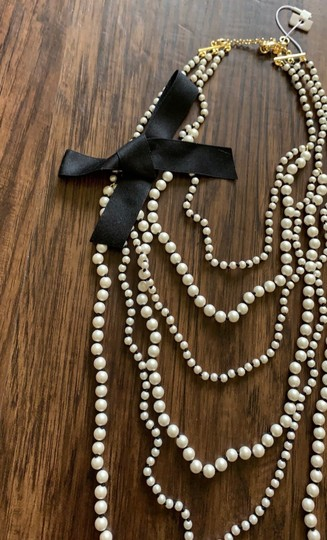 Ann Taylor knotted pearlized tie necklace Image 6