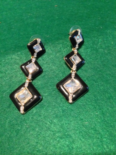 Macy's Black And Crystal Hanging Earring