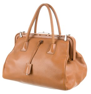 Prada Bowler Saffiano Pebbled Leather Doctor Frame Tote in Beige Brown