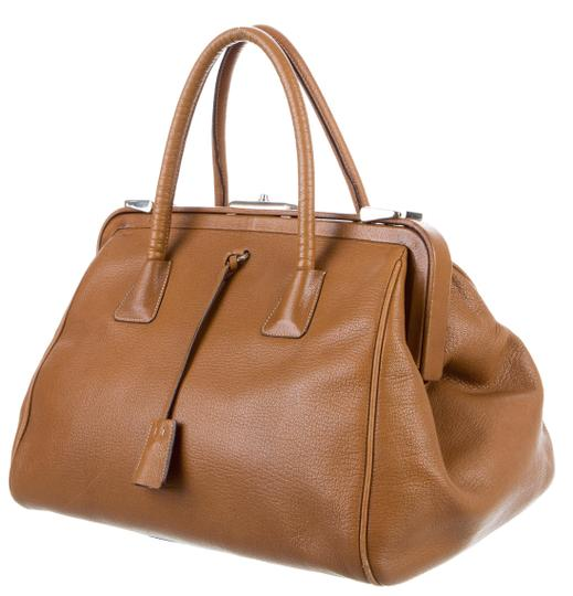 Prada Bowler Saffiano Pebbled Leather Doctor Frame Tote in Beige Brown Image 1