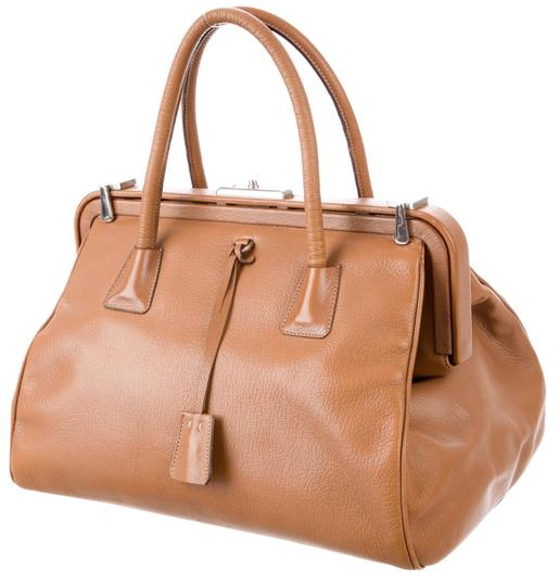 Prada Bowler Saffiano Pebbled Leather Doctor Frame Tote in Beige Brown Image 2