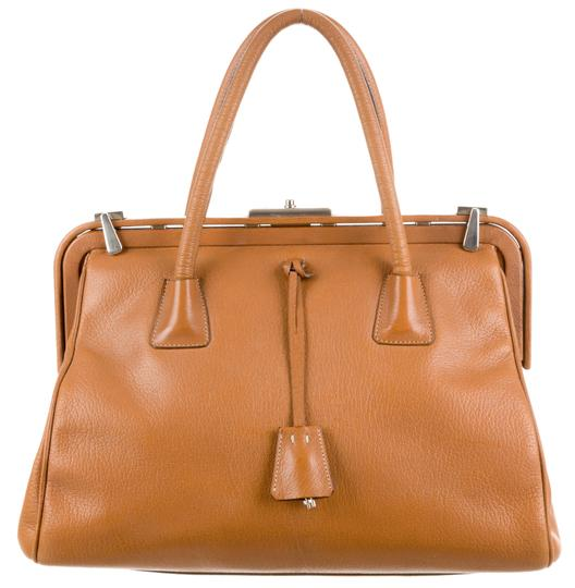 Prada Bowler Saffiano Pebbled Leather Doctor Frame Tote in Beige Brown Image 3