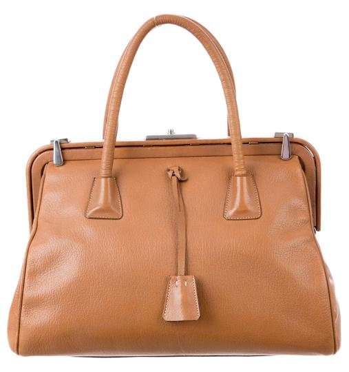 Prada Bowler Saffiano Pebbled Leather Doctor Frame Tote in Beige Brown Image 4