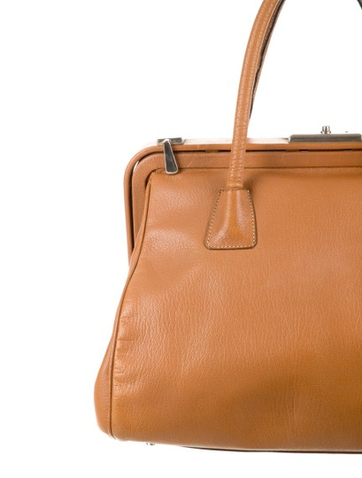 Prada Bowler Saffiano Pebbled Leather Doctor Frame Tote in Beige Brown Image 6