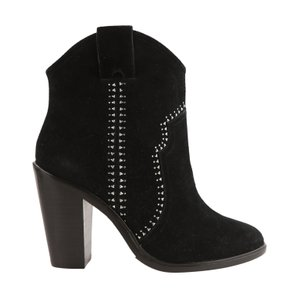 Joie Suede Studded Leather Ankle Black Boots
