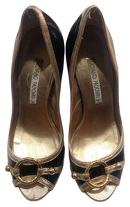 Luciano Padovan Black And Gold Pumps