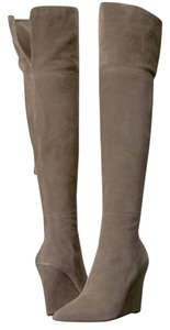 Pour La Victoire Wedge Suede Grey Over The Knee Taupe Boots