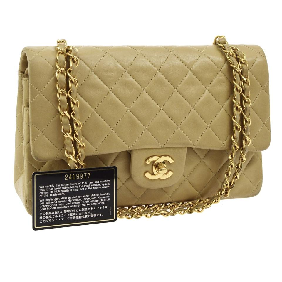3cbadc8d0144b7 Chanel Flap Quilted Classic Double Chain Beige Lambskin Leather Shoulder Bag