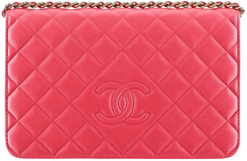 b99a501f56fe43 Chanel Classic Flap Diamond Cc Logo Woc Wallet On A Chain Mini Timeless  Quilt Fuchsia Pink Lambskin Leather Cross Body Bag