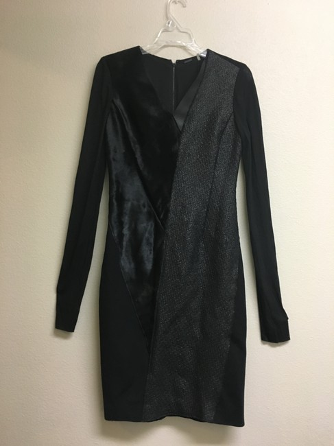 Elie Tahari Fur Tweed Longsleeve Leather Dress Image 2