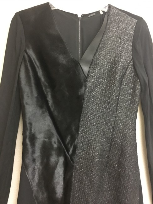 Elie Tahari Fur Tweed Longsleeve Leather Dress Image 4