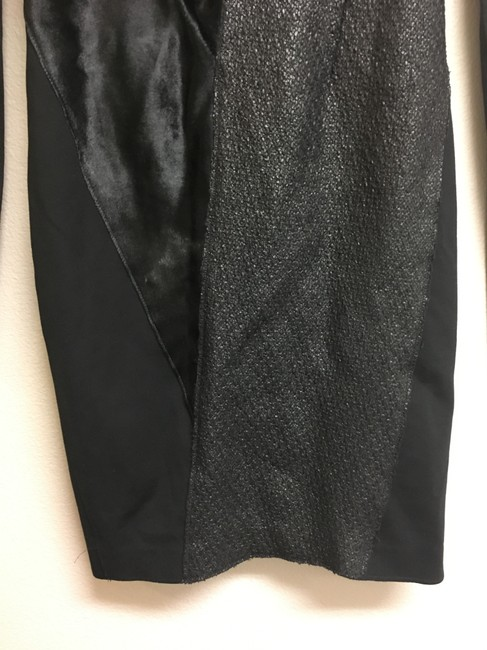 Elie Tahari Fur Tweed Longsleeve Leather Dress Image 6
