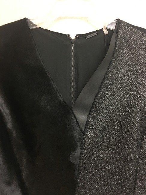 Elie Tahari Fur Tweed Longsleeve Leather Dress Image 7