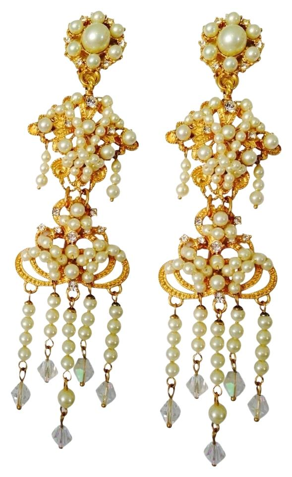 Carolee Lux Gold Tone White Pearl Crystal Cubic Zirconia Long Chandelier Earrings
