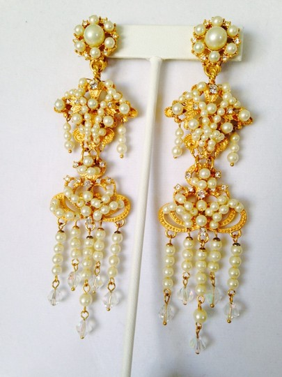 Carolee LUX Gold-Tone White Pearl, Crystal & Cubic Zirconia Long Chandelier Earrings