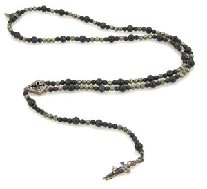Stephen Webster Sterling & Gems Cross & Dagger Rosary Lariat Necklace
