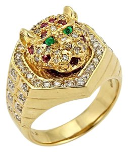 Other Diamond Ruby & Emerald 18k Moving Tiger Head Ring