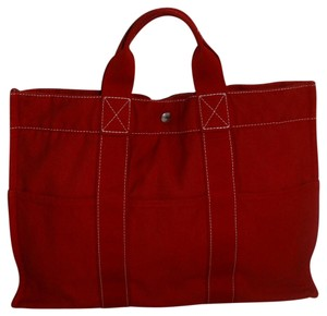 Hermès Vintage Canvas Deauville Tote in Red
