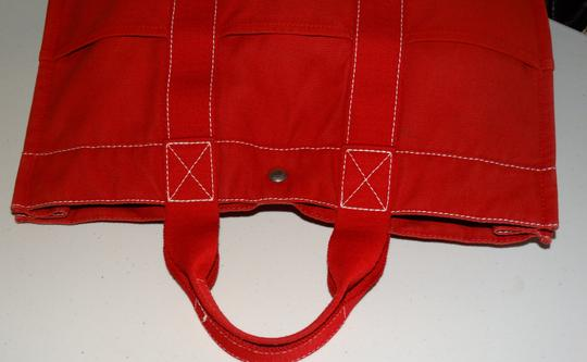 Hermès Vintage Canvas Deauville Tote in Red Image 4