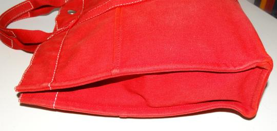Hermès Vintage Canvas Deauville Tote in Red Image 6