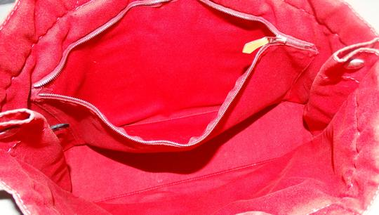 Hermès Vintage Canvas Deauville Tote in Red Image 8