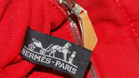 Hermès Vintage Canvas Deauville Tote in Red Image 9
