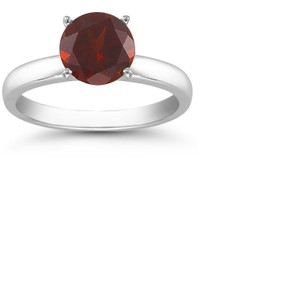 Apples of Gold Garnet Solitaire Ring in Sterling Silver