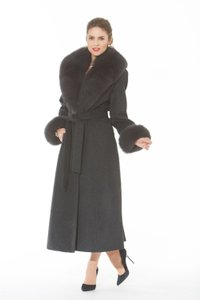 madisonavemall Cashmere Womens Real Fox Real Fox Collor Real Fox Cuffs Coat