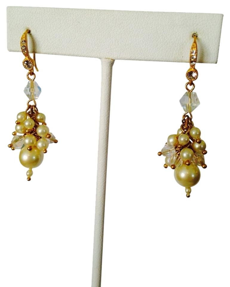 Carolee Lux White Pearl Crystal Cubic Zirconia Shaky Earrings